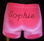 Neon pink velour personalised shorts
